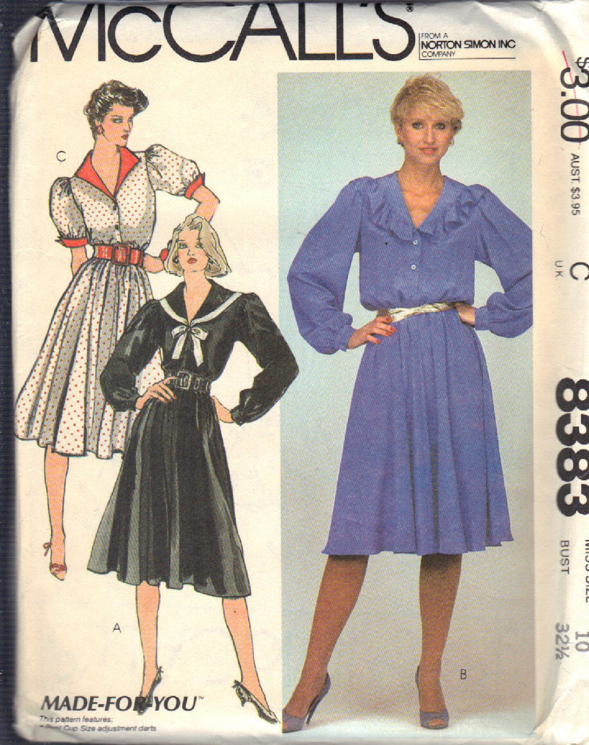 McCALL'S PATTERN 8383 DATED 1983 SIZE 10 MISSES' DRESS IN THREE VERSIONS