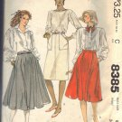 McCALL'S PATTERN 8385 DATED 1983 SIZE 8 MISSES' SKIRTS IN THREE VERSIONS