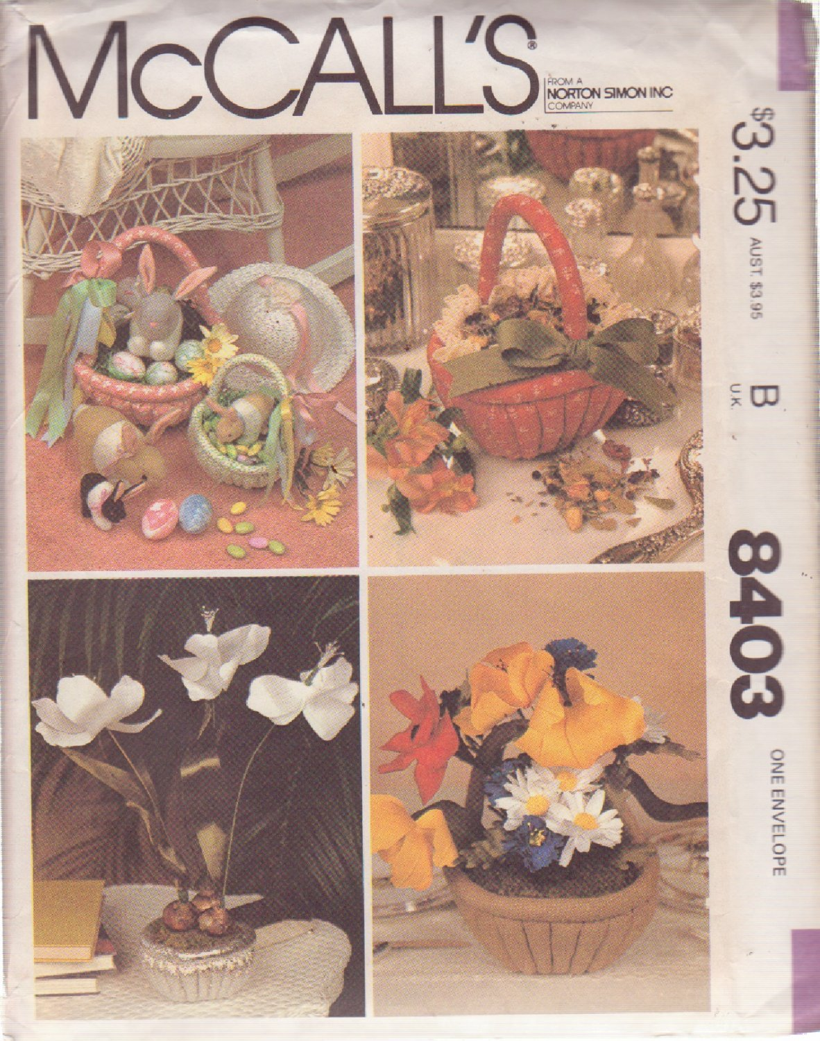 McCALL'S PATTERN 8403 DATED 1983 EASTER CRAFT PACKAGE, BASKETS,BUNNIES,FLOWERS