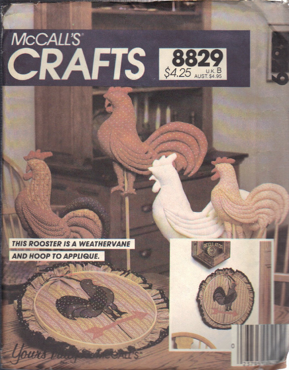 McCALL'S PATTERN 8829, DATED 1983, TO MAKE A ROOSTER, 5 DIFFERENT VERSIONS UNCUT