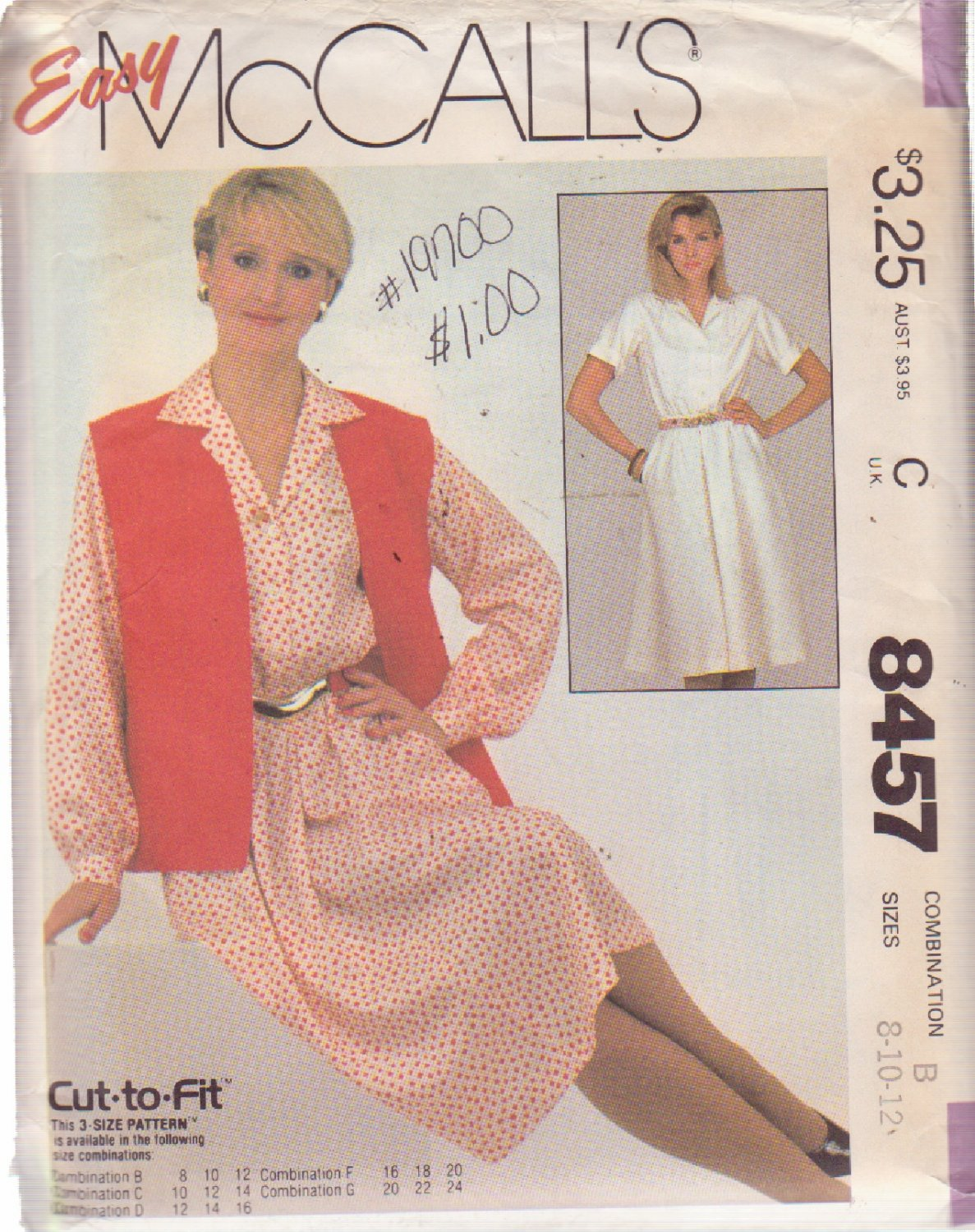 McCALL'S PATTERN 8457 SIZES 8/10  MISSES' SHIRTWAIST DRESS AND VEST
