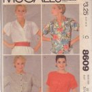 McCALL'S PATTERN 8609 SIZE 10  MISSES' BLOUSES IN 3 VARIATIONS