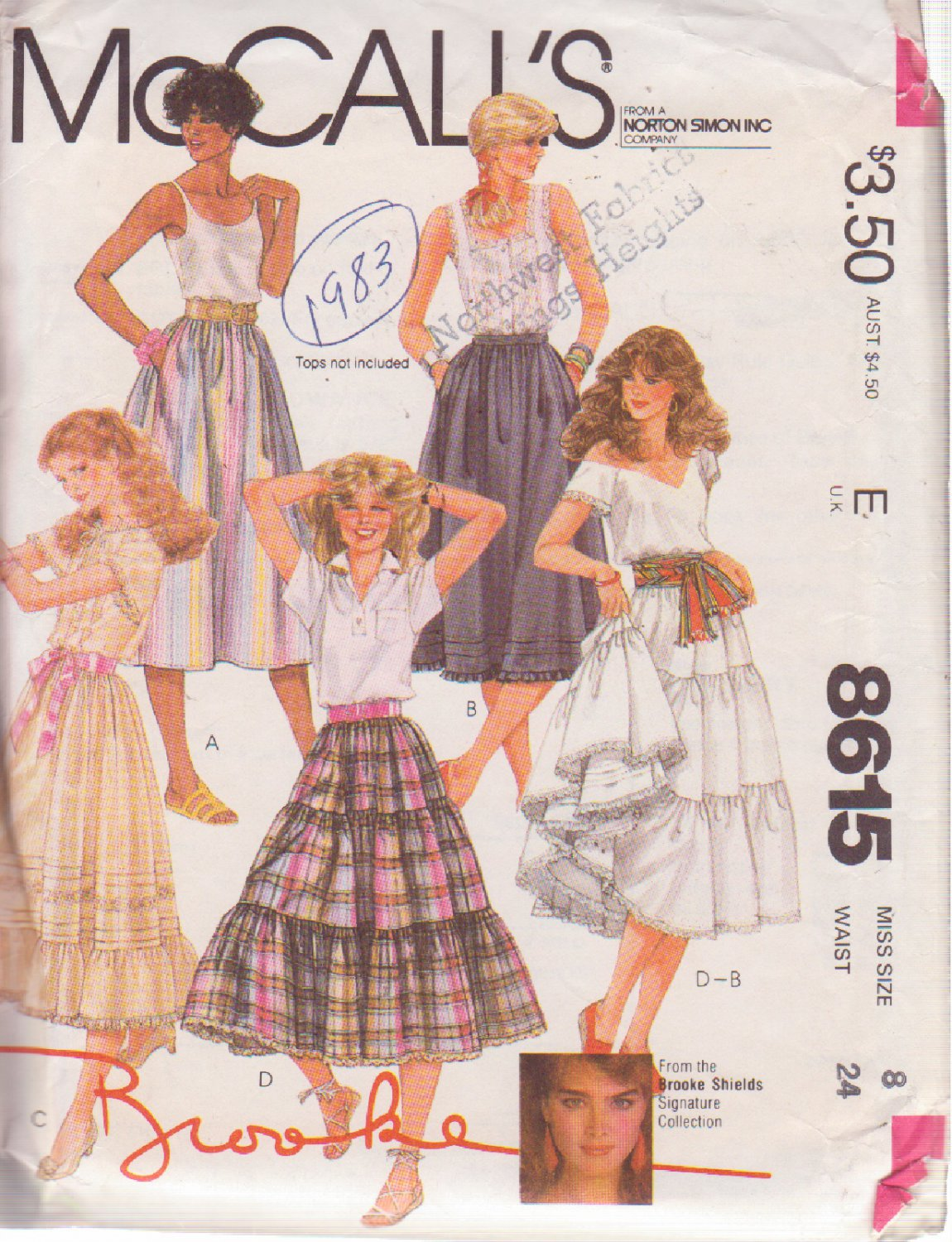 McCALL'S PATTERN 8615 SIZE 8  MISSES' SKIRT IN 4 VARIATIONS by Brooke Shields