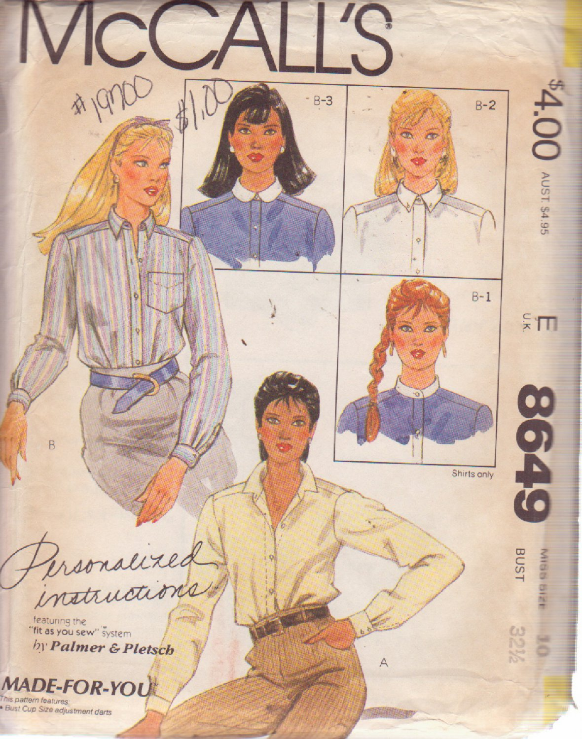 McCALL'S PATTERN 8649 SIZE 10  MISSES' BLOUSE WITH 4 COLLAR VARIATIONS