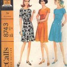 McCALL'S PATTERN 8743 DATED 1967 SIZE 20 ½  MISSES' DRESS IN TWO VERSIONS
