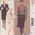McCALL'S PATTERN 8782 SIZE 10  MISSES' JACKET, SKIRT IN 2 VARIATIONS