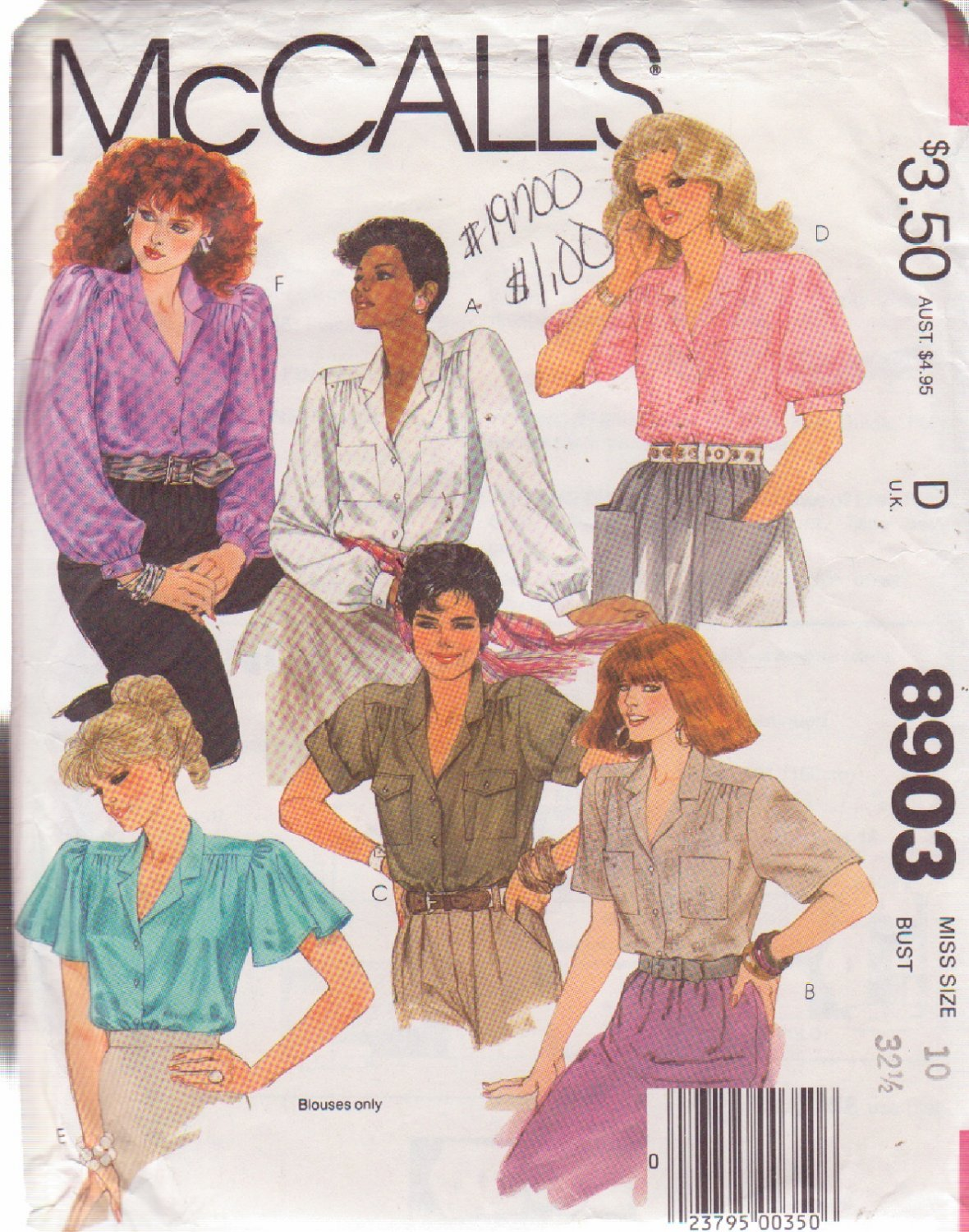 McCALL'S PATTERN 8903 SIZE 10  MISSES' BLOUSES IN 6 VARIATIONS