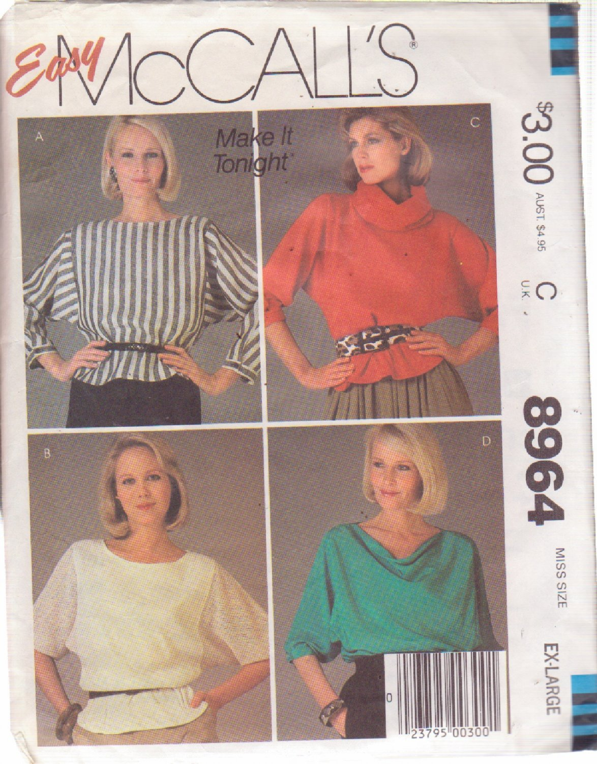 McCALL'S PATTERN 8964 SIZE XL 22/24 MISSES' BLOUSE OR TOPS IN 4 VARIATIONS