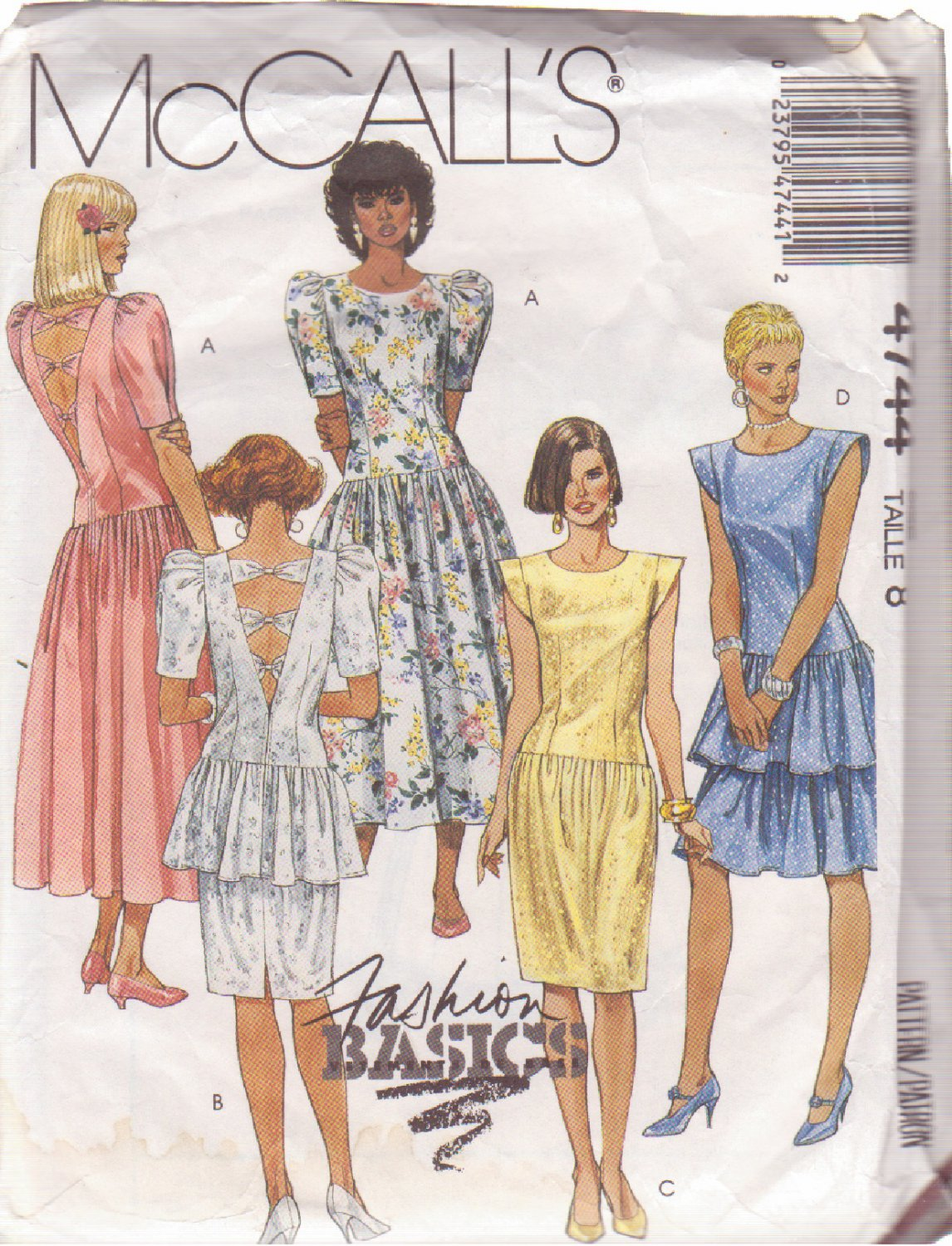 McCALL'S PATTERN 4744 SIZE 8 MISSES' DRESS IN 4 VARIATIONS