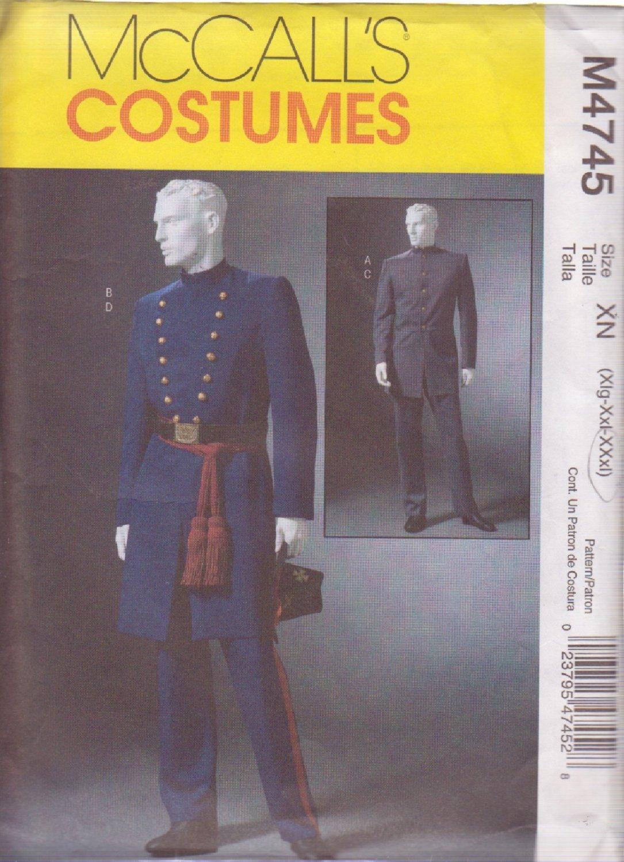 McCALL'S PATTERN 4745 SIZE XL-XXL MEN'S CIVIL WAR COSTUME