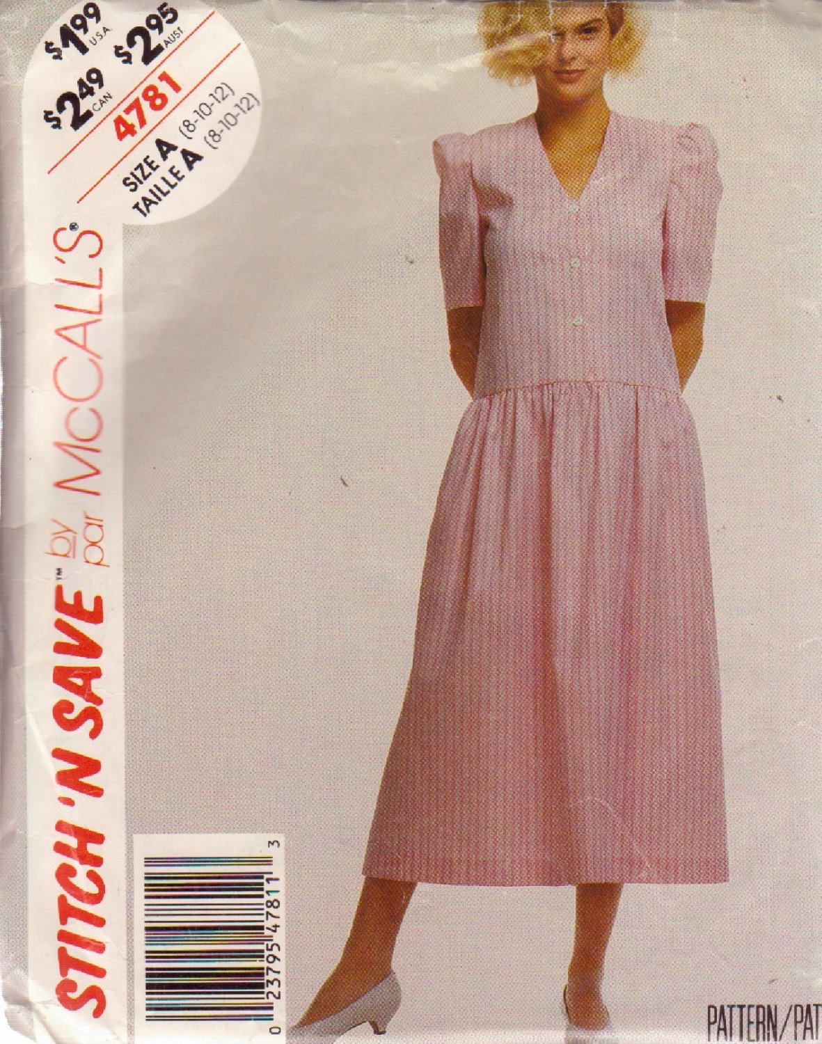McCALL'S PATTERN 4781 SIZE 8 MISSES' DRESS