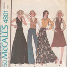 McCALL'S PATTERN 4801 SIZE 8 MISSES' UNLINED VEST, SKIRT & PANTS