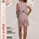 McCALL'S PATTERN 4852 SIZE 6/8/10 MISSES' TOP & SHORTS