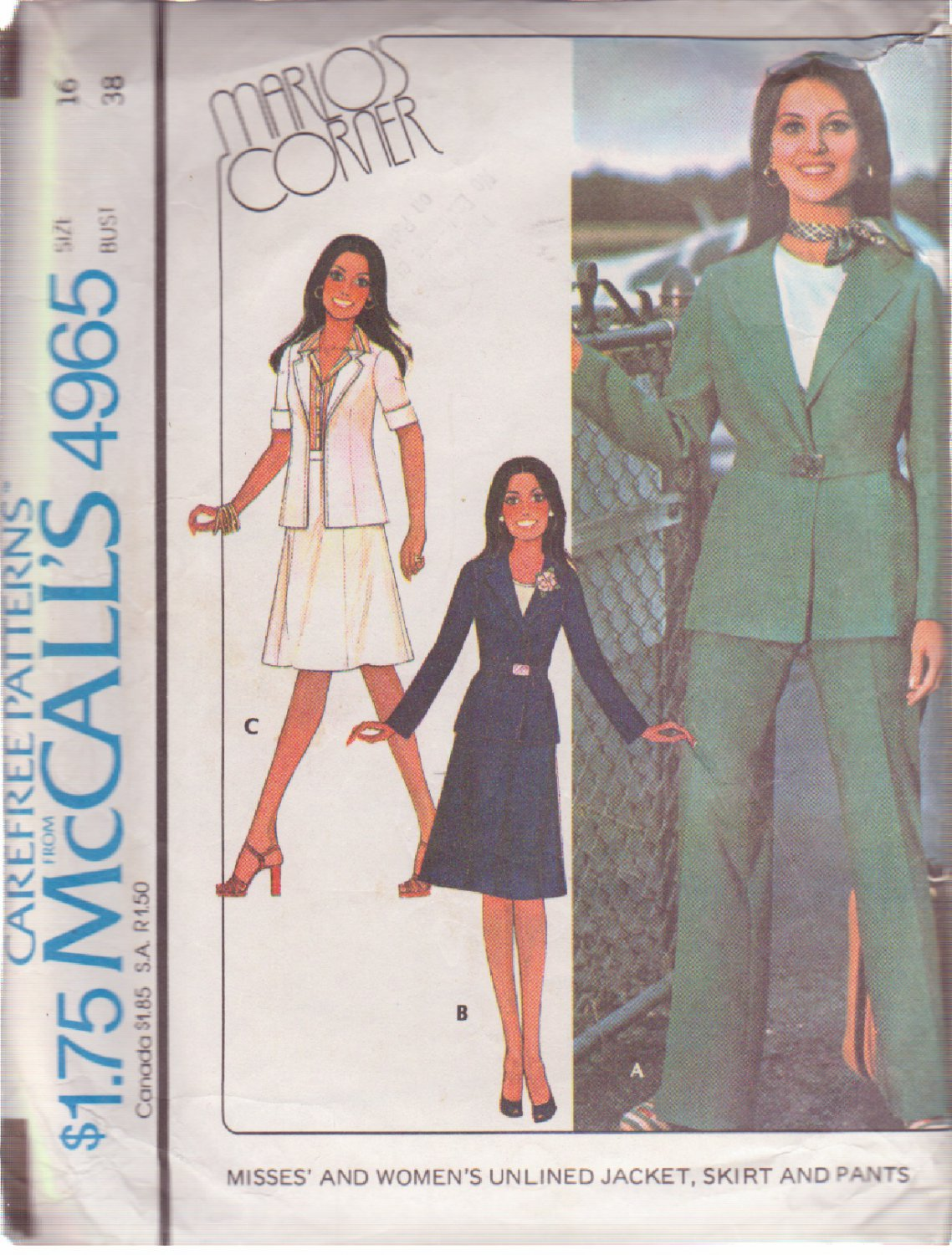 McCALL'S VINTAGE 1976 PATTERN 4965 SIZE 16 MISSES' JACKET SKIRT PANTS