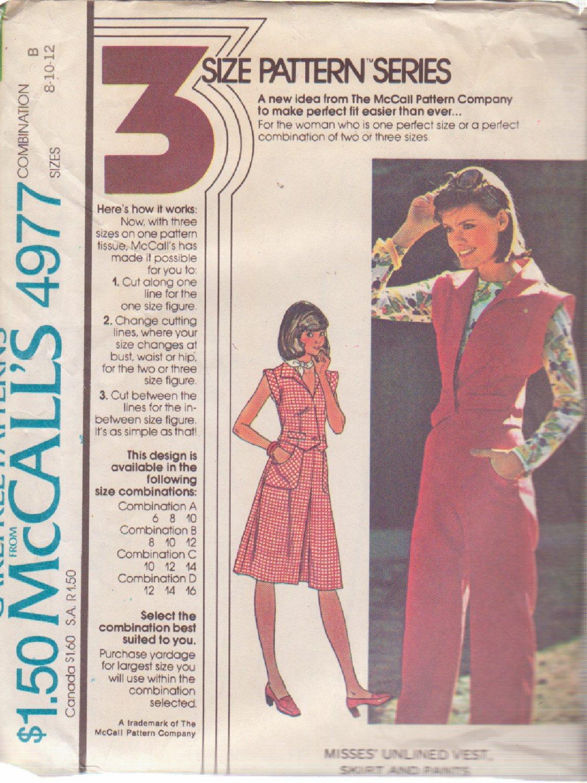 McCALL'S 1976 PATTERN 4977 SIZE 8/10/12 MISSES' VEST SKIRT PANTS UNCUT