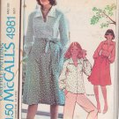 McCALL'S VINTAGE 1976 PATTERN 4981 SIZE 8 MISSES' BLOUSE & WRAP SKIRT