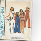 McCall's PATTERN 4983  SIZE 14 GIRLS' JUMPSUIT IN 3 VARIATIONS