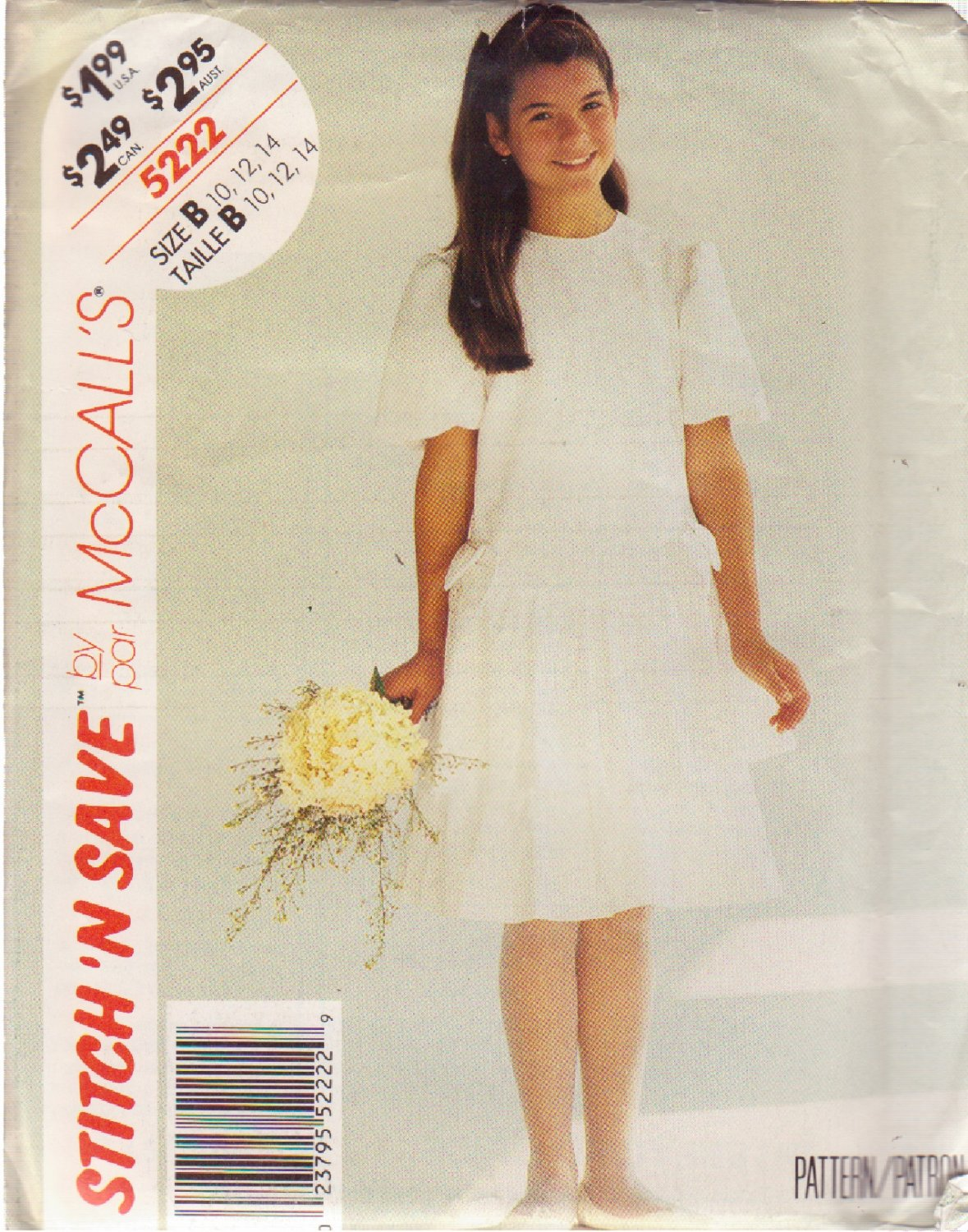 McCall's PATTERN 5222 SIZE 10/12/14 GIRLS' DRESS UNCUT