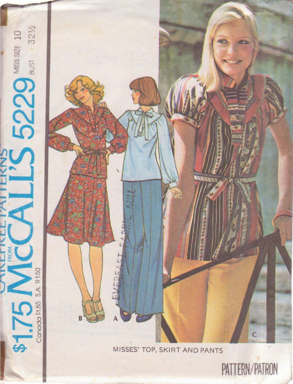 McCALL'S PATTERN 5229 SIZE 10 MISSES' TOP SKIRT PANTS UNCUT
