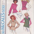 McCALL'S PATTERN 5233 SIZE SMALL 10/12 MISSES' SET OF BLOUSES UNCUT