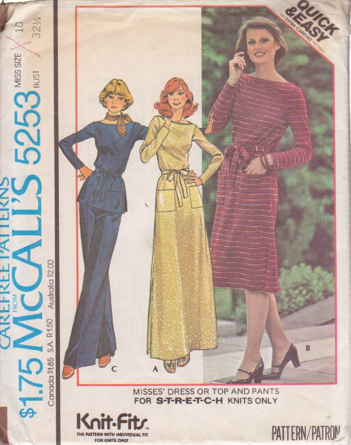 McCALL'S PATTERN 5253 SIZE 10 MISSES' DRESS OR TOP & PANTS