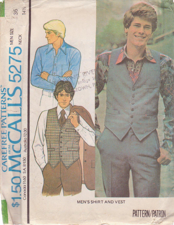 McCALL'S VINTAGE 1976 PATTERN 5275 SIZE 36 MEN'S VEST AND SHIRT