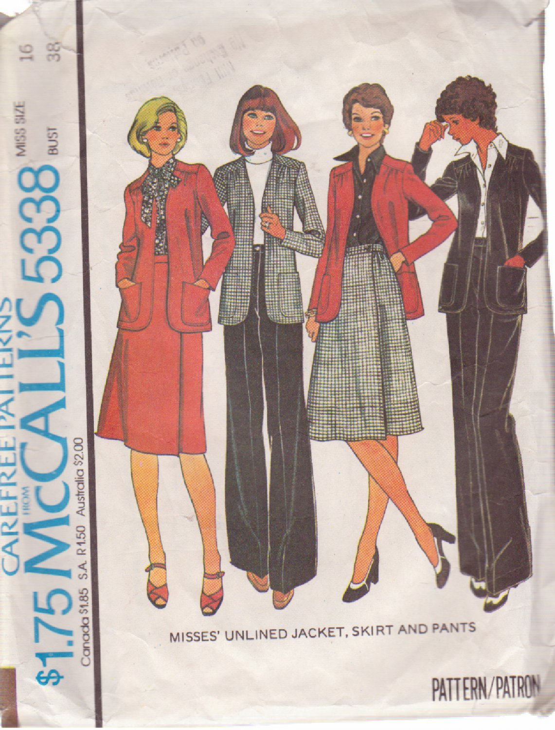 McCALL'S 1976 PATTERN 5338 SIZE 16 MISSES' JACKET, SKIRT & PANTS