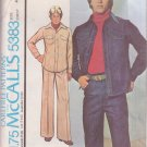 McCALL'S PATTERN 5383 SIZE 40 MEN'S JACKET & PANTS OR LEISURE SUIT UNCUT