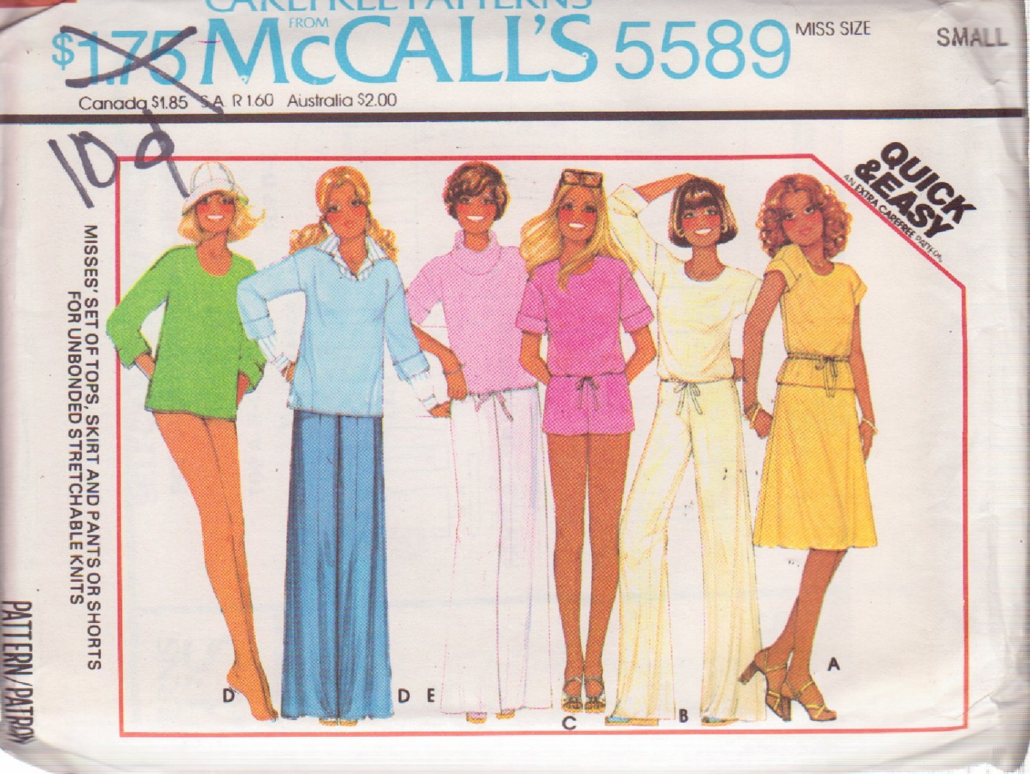 McCALL'S PATTERN 5589 SZ SMALL 10/12 MISSES' TOPS & SKIRT PANTS SHORTS UNCUT