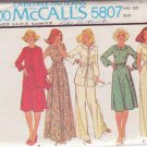 McCALL'S PATTERN 5807 SIZE 18 1/2 MISSES' DRESS OR JUMPSUIT, UNLINED JACKET