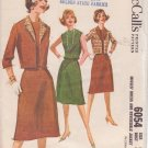McCALL'S VINTAGE 1961 PATTERN 6054 SIZE 12 DRESS & REVERSIBLE JACKET UNCUT
