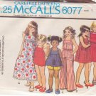 McCALL'S PATTERN 6077 GIRLS' SUNDRESS OR JUMPER OR TOP AND JUMPSUIT SIZE 5