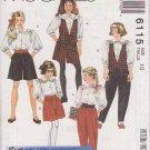 McCALL'S 1992 PATTERN 6115 SIZE 10 GIRL'S VEST BLOUSE CULOTTES PANTS UNCUT