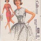 McCALL'S VINTAGE 1962 PATTERN 6358 SIZE 12 MISSES' DRESS SLIM OR FULL SKIRT