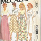 McCALL'S PATTERN 6389 SIZE 12 MISSES' SET OF SKIRTS, 2 LENGTHS 4 VERSIONS