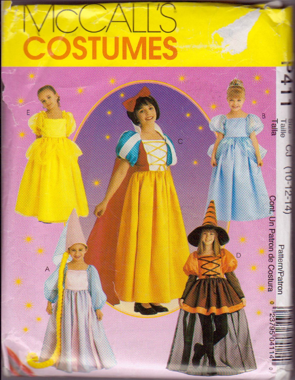 McCALL'S 2000 PATTERN P411 2856 SIZE 10/12 GIRL'S STORYBOOK COSTUMES 5 STYLES