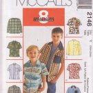 McCALLS PATTERN 2146 SIZE XSM/SM BOYS' SHIRTS 8 VARIATIONS UNCUT