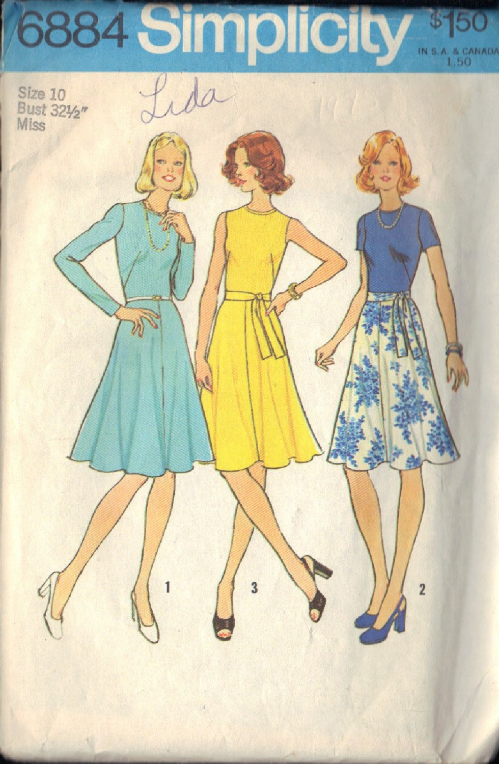 SIMPLICITY PATTERN 6884 SIZE 10 DRESS IN 3 VARIATION from 1966
