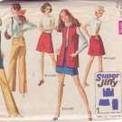 SIMPLICITY PATTERN 8411 SZ 14 MISSES MINI-SKIRT, VEST, HIP HUGGER PANTS