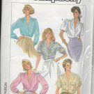 SIMPLICITY 1986 PATTERN 7855 MISSES' BLOUSE IN 5 VARIATIONS SIZES 6/8/10 UNCUT