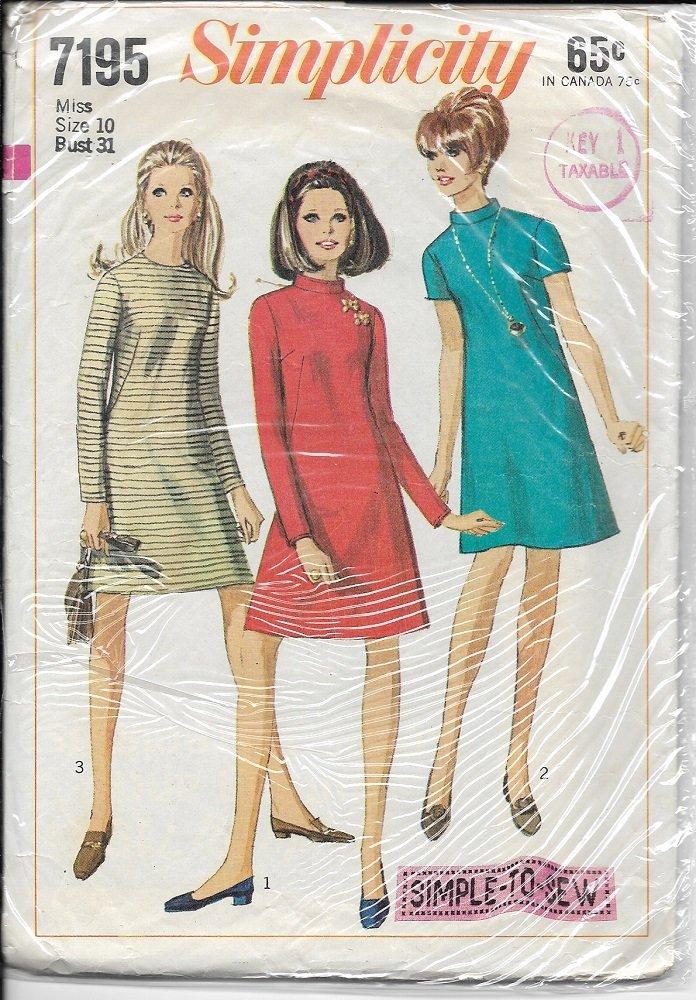 SIMPLICITY VINTAGE 1967 PATTERN 7195 SIZE 10 MISSES'  DRESS 3 VARIATIONS