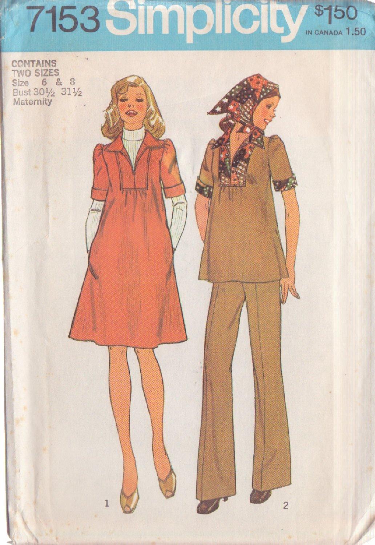 SIMPLICITY VTG 1975 PTRN 7153 SZ 6/8 MISSES' MATERNITY DRESS OR TOP PANTS SCARF