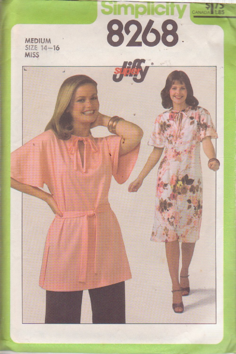 .SIMPLICITY PATTERN 8268 SIZE MEDIUM 14/16 MISSES PULLOVER DRESS OR TUNIC