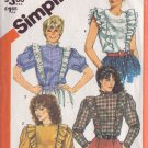 SIMPLICITY VINTAGE PATTERN 5752 SZ 8 MISSES' ASYMMETRICAL BLOUSE IN 4 VARIATIONS