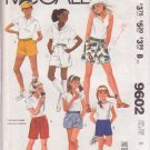 McCALL'S PATTERN 9602 SIZE 8 GIRLS' SHORTS IN 6 VARIATIONS