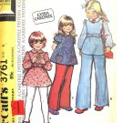 McCALL'S PATTERN 3761 DATED 1973 SIZE 6 GIRL'S DRESS, TOP, PANTS
