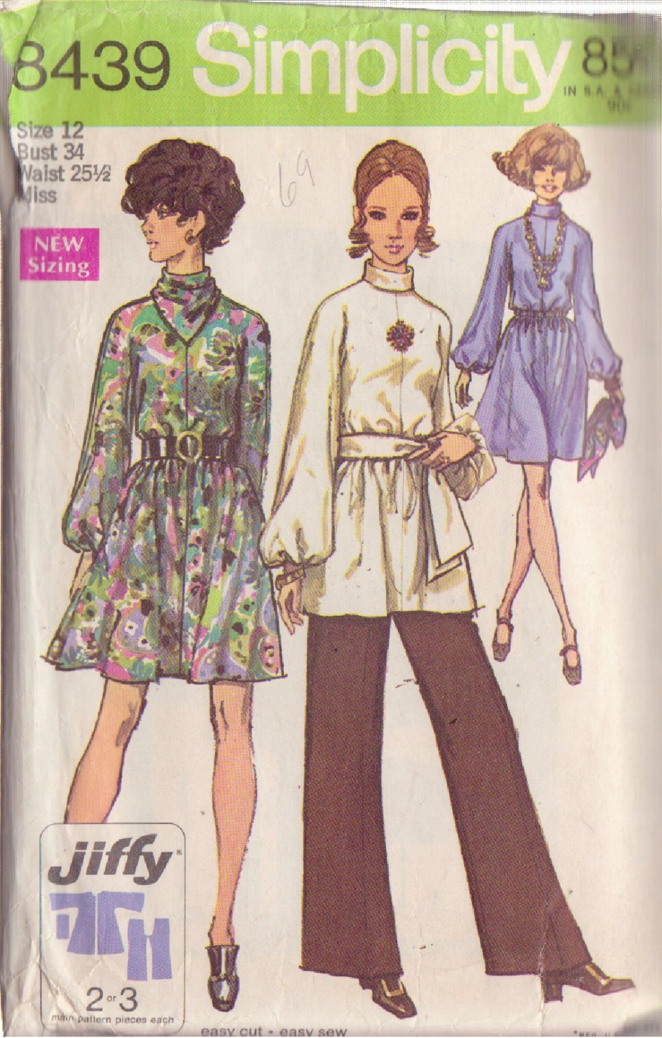 SIMPLICITY PATTERN 8439 SIZE 12 MISSES DRESS OR TUNIC, PANTS SCARF, SASH