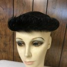 """VINTAGE LADIES BLACK WOVEN HAT WITH FEATHERED BORDER 21 1/2""""  #114"""