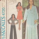 McCall's Pattern 4720 dated 1975 for a misses' dress or top and pants in size 8.