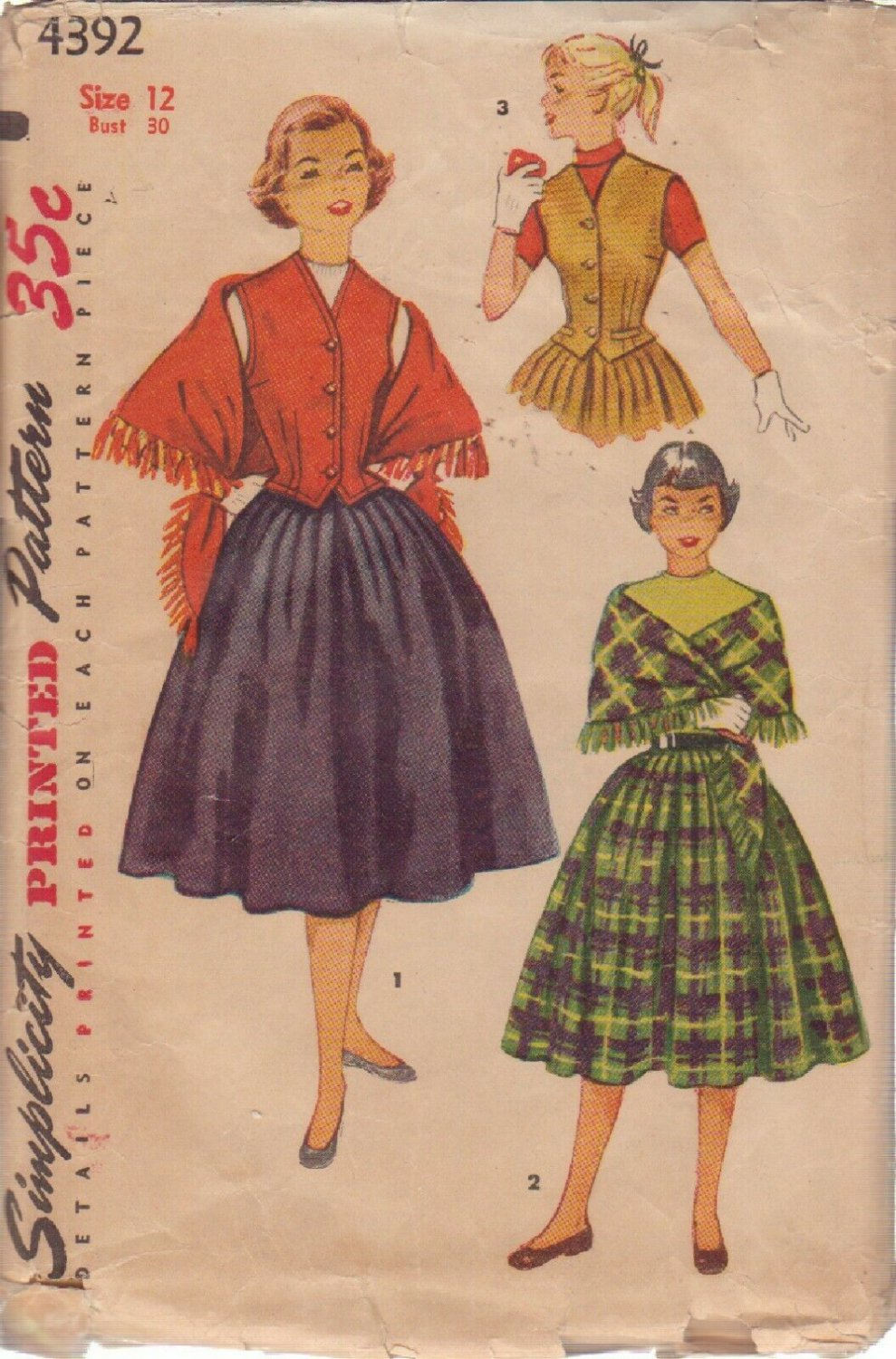 SIMPLICITY PATTERN 4392 SIZE 12 GIRLS� WESKIT, SKIRT AND STOLE
